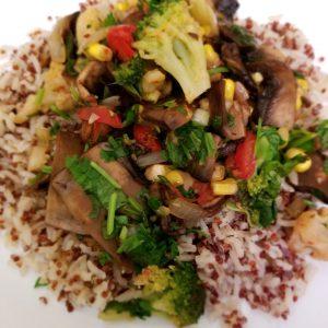 Portobello Mushroom served with brown rice and quinoa
